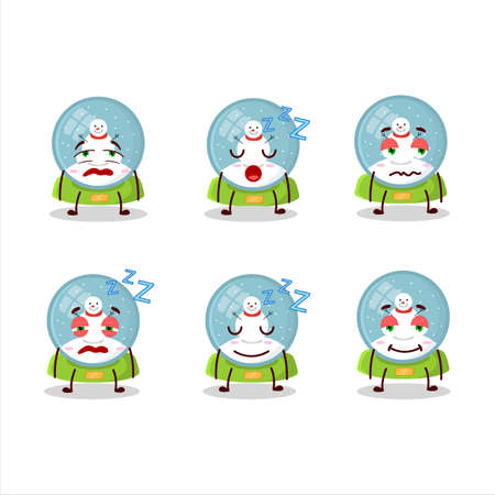 Cartoon character of snowball with snowman with sleepy expression
