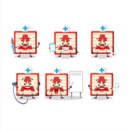 Doctor profession emoticon with toy block A cartoon character