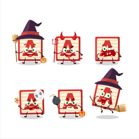 Halloween expression emoticons with cartoon character of toy block A
