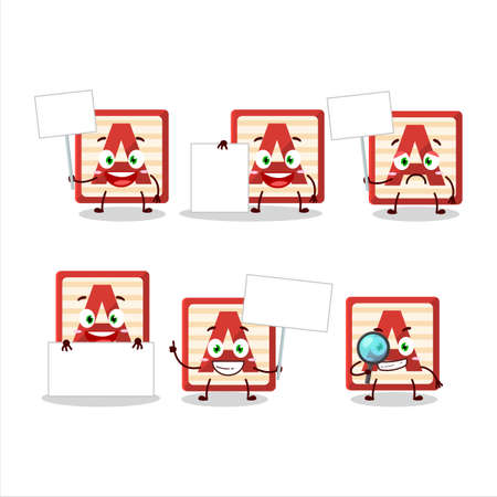 Toy block A cartoon character bring information board