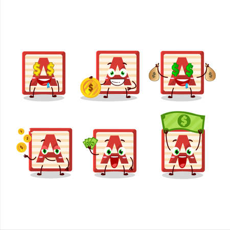 Toy block A cartoon character with cute emoticon bring money