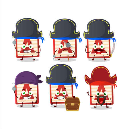 Cartoon character of toy block A with various pirates emoticons Ilustracja