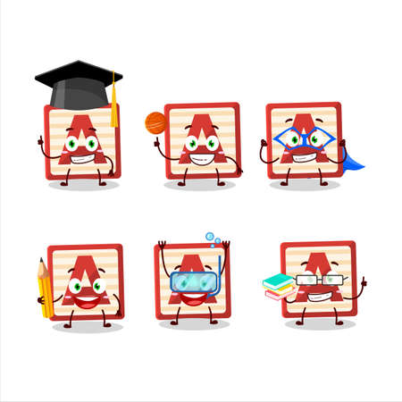 School student of toy block A cartoon character with various expressions
