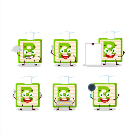 Cartoon character of toy block B with various chef emoticons