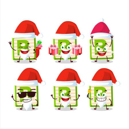 Santa Claus emoticons with toy block B cartoon character