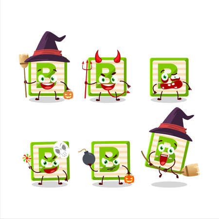 Halloween expression emoticons with cartoon character of toy block B