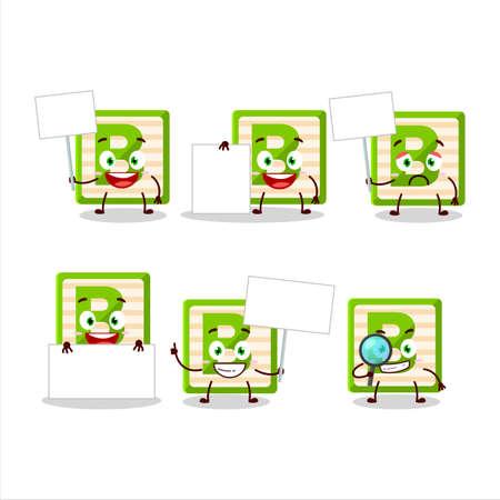 Toy block B cartoon character bring information board