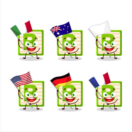 Toy block B cartoon character bring the flags of various countries Ilustracja