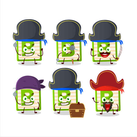 Cartoon character of toy block B with various pirates emoticons