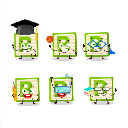 School student of toy block B cartoon character with various expressions 矢量图像