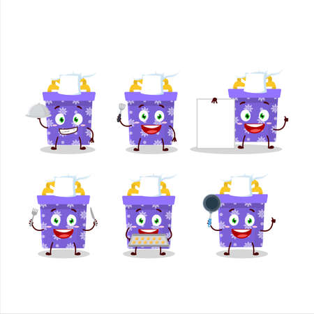 Cartoon character of purple christmas gift with various chef emoticons