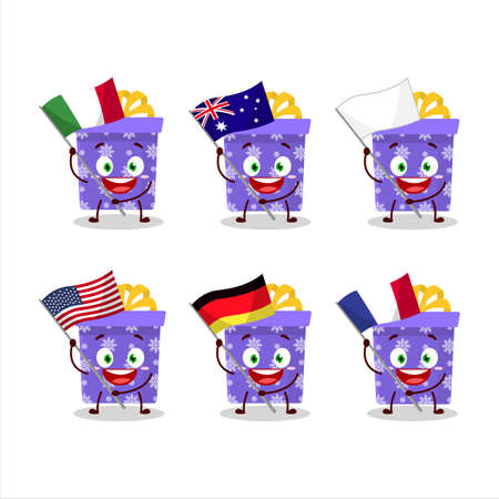 Purple christmas gift cartoon character bring the flags of various countries Vettoriali