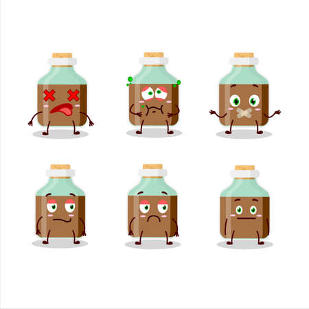 Chocolate baby milk bottle cartoon character with nope expression Ilustracja