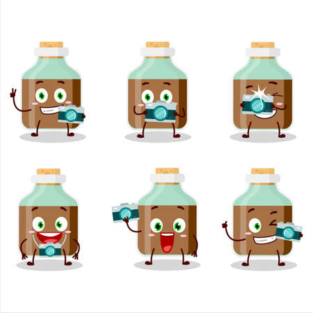 Photographer profession emoticon with chocolate baby milk bottle cartoon character