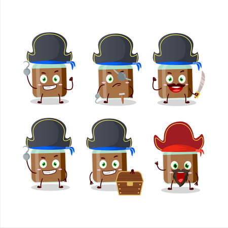 Cartoon character of chocolate baby milk bottle with various pirates emoticons
