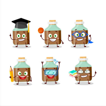 School student of chocolate baby milk bottle cartoon character with various expressions Ilustracja