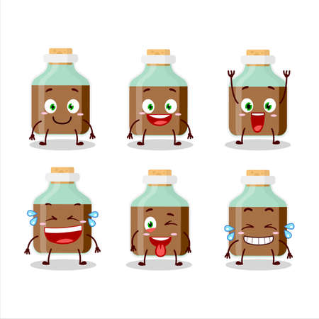 Cartoon character of chocolate baby milk bottle with smile expression
