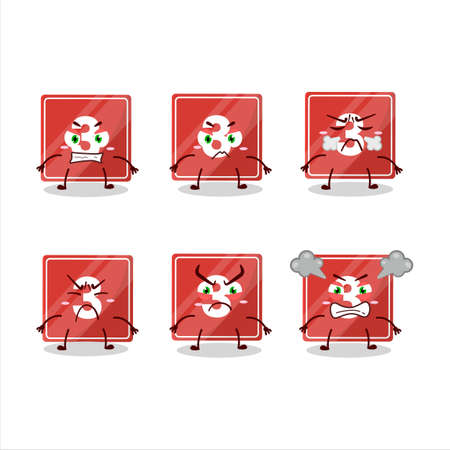 Toys block three cartoon character with various angry expressions