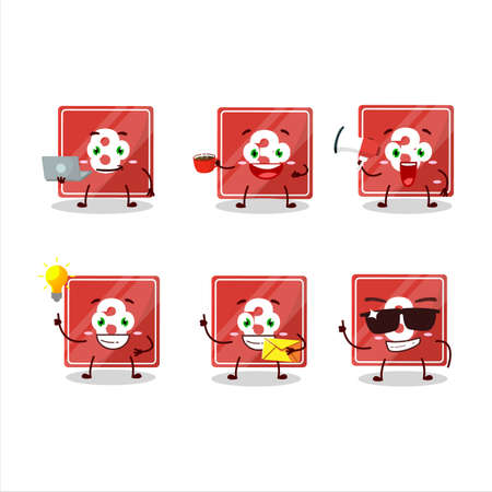 Toys block three cartoon character with various types of business emoticons Ilustracja
