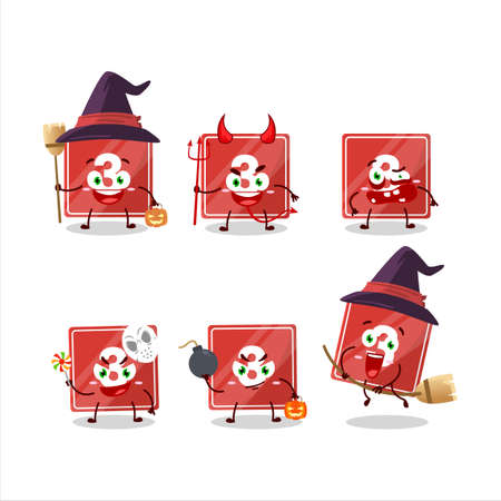 Halloween expression emoticons with cartoon character of toys block three Ilustracja