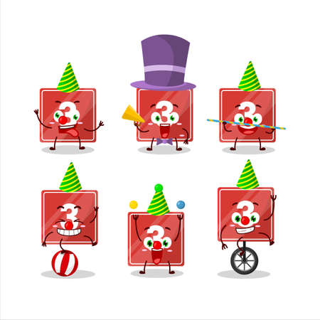 Cartoon character of toys block three with various circus shows