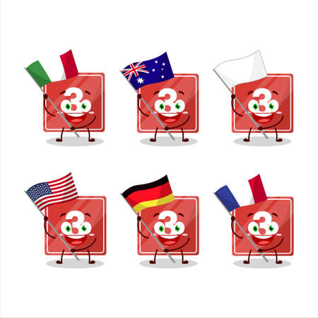 Toys block three cartoon character bring the flags of various countries