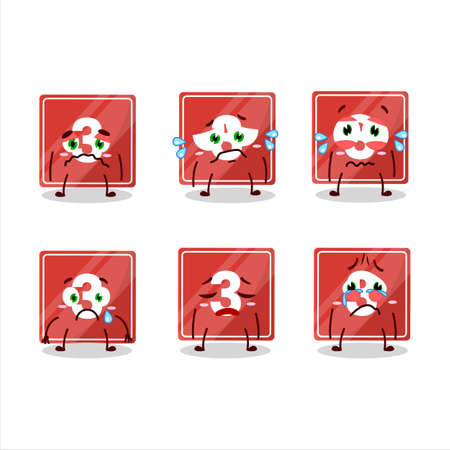 Toys block three cartoon character with sad expression