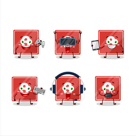 Toys block three cartoon character are playing games with various cute emoticons