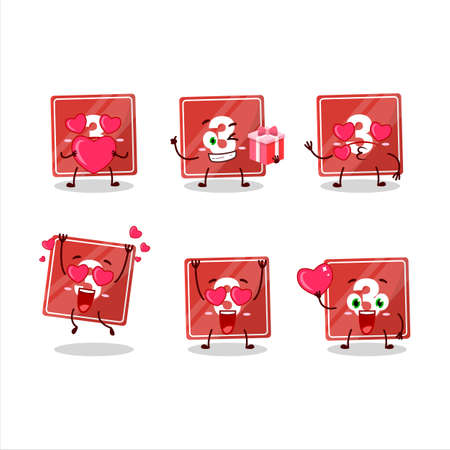 Toys block three cartoon character with love cute emoticon
