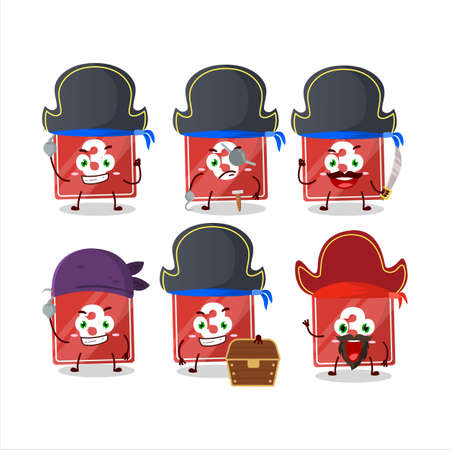 Cartoon character of toys block three with various pirates emoticons