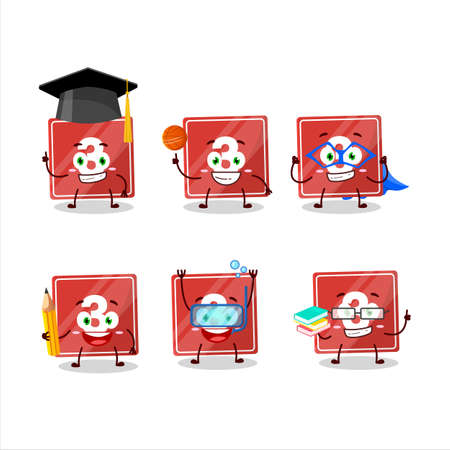 School student of toys block three cartoon character with various expressions