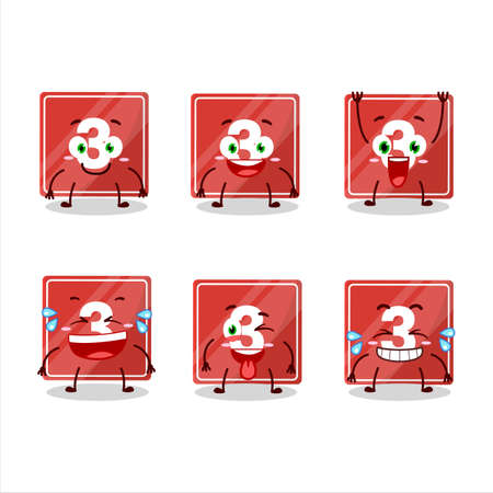 Cartoon character of toys block three with smile expression