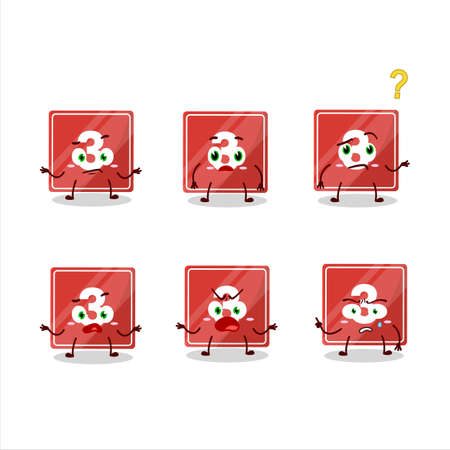 Cartoon character of toys block three with what expression