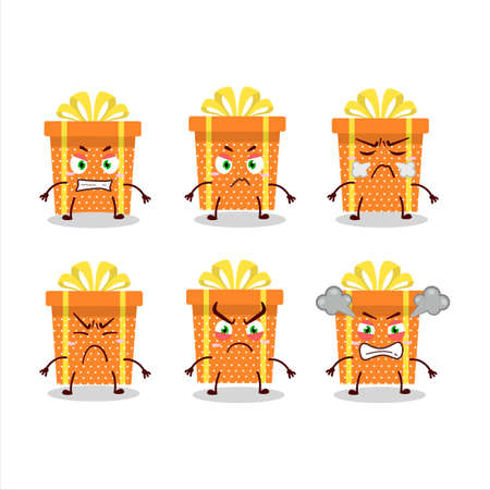 Orange christmas gift cartoon character with various angry expressions