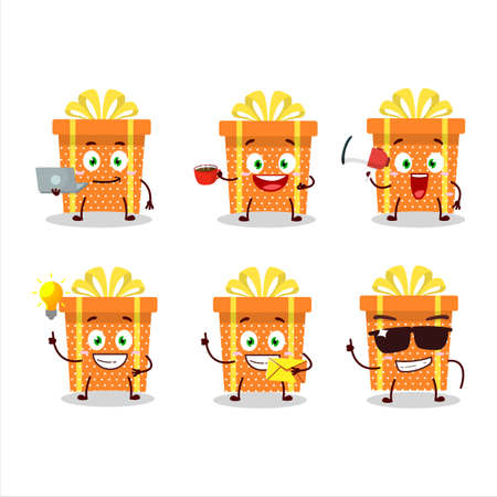 Orange christmas gift cartoon character with various types of business emoticons