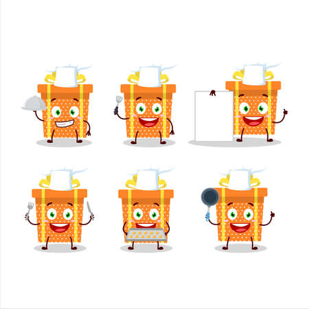 Cartoon character of orange christmas gift with various chef emoticons