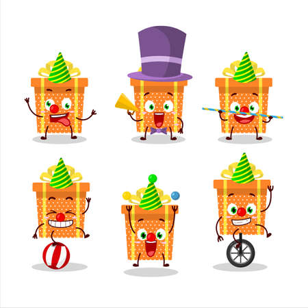 Cartoon character of orange christmas gift with various circus shows