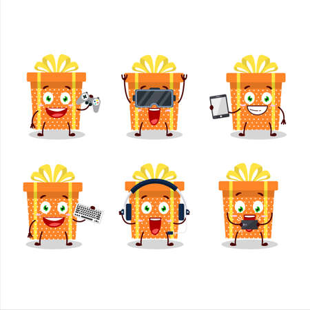 Orange christmas gift cartoon character are playing games with various cute emoticons Ilustracja