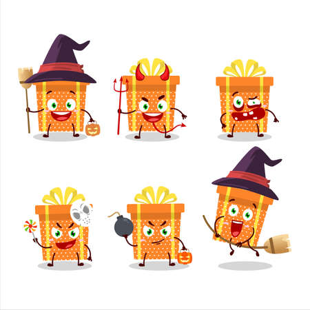 Halloween expression emoticons with cartoon character of orange christmas gift