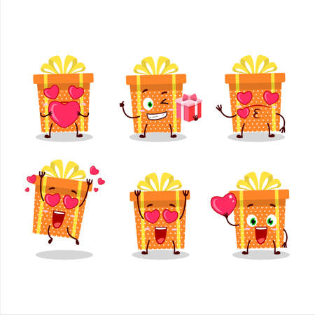 Orange christmas gift cartoon character with love cute emoticon