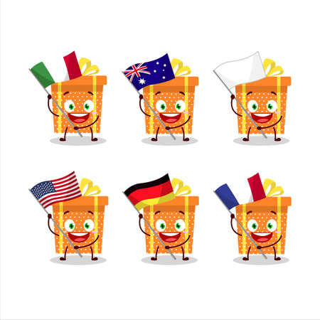Orange christmas gift cartoon character bring the flags of various countries