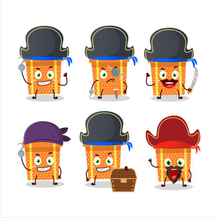 Cartoon character of orange christmas gift with various pirates emoticons