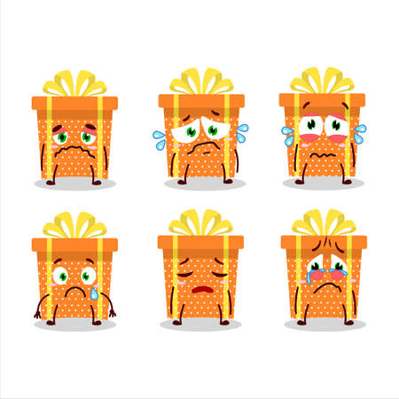 Orange christmas gift cartoon character with sad expression
