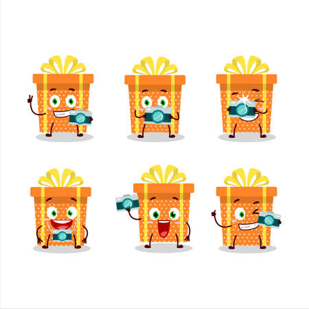 Photographer profession emoticon with orange christmas gift cartoon character