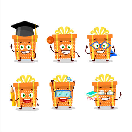 School student of orange christmas gift cartoon character with various expressions