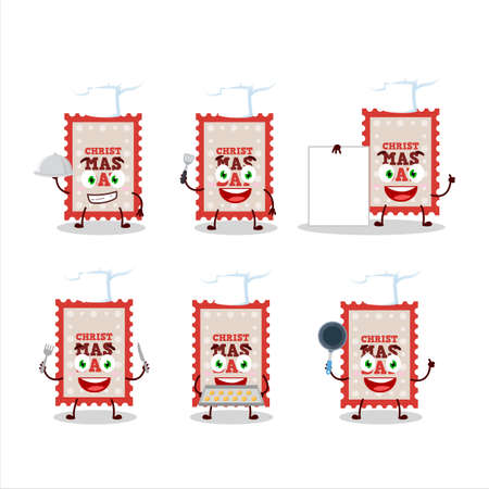 Cartoon character of christmas ticket with various chef emoticons Ilustracja