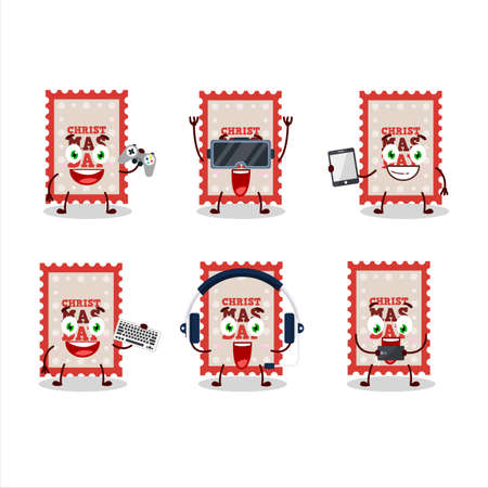 Christmas ticket cartoon character are playing games with various cute emoticons