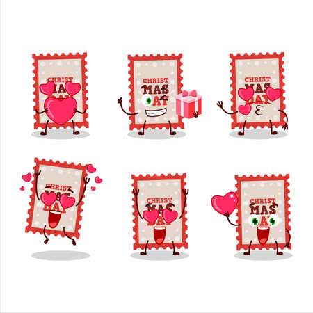 Christmas ticket cartoon character with love cute emoticon