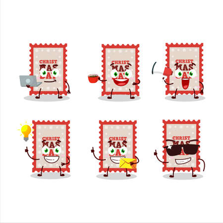 Christmas ticket cartoon character with various types of business emoticons Ilustracja