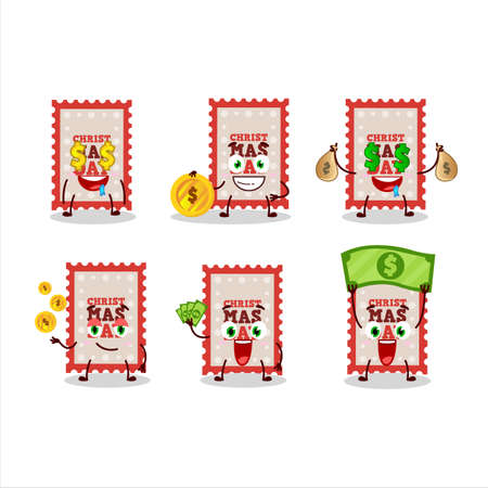 Christmas ticket cartoon character with cute emoticon bring money